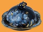 Масленка кобальтовая гжель Голубая рапсодия позолоченная
