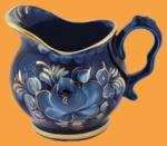 Молочник кобальтовая гжель Голубая Рапсодия позолоченный